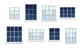 Collection of various window compositions Stock Photos