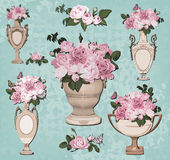 Collection of vases, roses on blue background Royalty Free Stock Photo