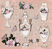 Collection of vases, roses and butterfly Stock Images