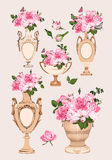 Collection of vases, roses on pink background Royalty Free Stock Images