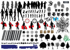 Collection of Vector. Silhouette of girls and collection of Vector Fingerprints, Footprints and more Royalty Free Stock Image