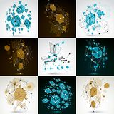 Collection of vector abstract backgrounds created in Bauhaus ret. Ro style. Modern geometric composition can be used as templates and layouts Royalty Free Stock Photography