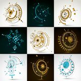 Collection of vector abstract backgrounds created in Bauhaus ret. Ro style. Modern geometric composition can be used as templates and layouts. Engineering vector illustration