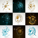 Collection of vector abstract backgrounds created in Bauhaus ret. Ro style. Modern geometric composition can be used as templates and layouts. Engineering Royalty Free Stock Photos