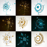 Collection of vector abstract backgrounds created in Bauhaus ret. Ro style. Modern geometric composition can be used as templates and layouts. Engineering Stock Image