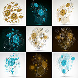 Collection of vector abstract backgrounds created in Bauhaus ret. Ro style. Modern geometric composition can be used as templates and layouts Royalty Free Stock Images