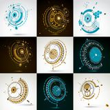 Collection of vector abstract backgrounds created in Bauhaus ret. Ro style. Modern geometric composition can be used as templates and layouts. Engineering Stock Photography