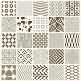 Collection of vector abstract seamless compositions best for use. As wrapping papers, symmetric ornate backgrounds created with simple geometric shapes Stock Image