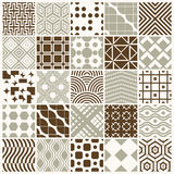Collection of vector abstract seamless compositions best for use. As wrapping papers, symmetric ornate backgrounds created with simple geometric shapes Royalty Free Stock Photos