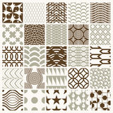 Collection of vector abstract seamless compositions. Best for use as wrapping papers, symmetric ornate backgrounds created with simple geometric shapes Stock Images