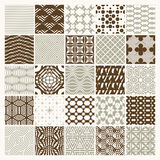Collection of vector abstract seamless compositions best for use. As wrapping papers, symmetric ornate backgrounds created with simple geometric shapes Royalty Free Stock Photo