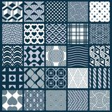 Collection of vector abstract seamless compositions, symmetric o. Rnate backgrounds created with simple geometric shapes. Black and white Stock Photo