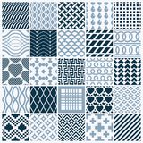 Collection of vector abstract seamless compositions, symmetric o. Rnate backgrounds created with simple geometric shapes. Black and white Stock Image