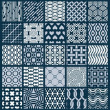 Collection of vector abstract seamless compositions, symmetric o. Rnate backgrounds created with simple geometric shapes. Black and white Royalty Free Stock Photos
