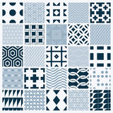 Collection of vector abstract seamless compositions. Symmetric ornate backgrounds created with simple geometric shapes. Black and white Stock Photos