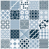 Collection of vector abstract seamless compositions, symmetric. Ornate backgrounds created with simple geometric shapes. Black and white Stock Photography