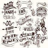 Collection of vector ands, the and swirls in vintage style Royalty Free Stock Images