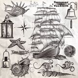Collection of vector antique elements sea rest and summer vacati Stock Image