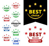 Collection vector badges. Premium 2016, Best oc the best, Best choice, Best price, Premium quality, Bestseller, Best seller, Best offer royalty free illustration