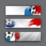 Collection of vector banners on a football theme. Soccer ball on background of the flag. football header for website Royalty Free Stock Photo