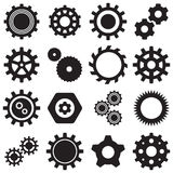 Collection of 16 Vector black gears icons. Isolated on white background color Royalty Free Stock Photos