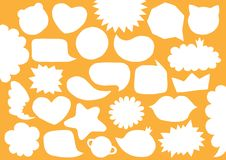 Collection of vector blank empty white paper cut speech bubbles. Set distorted trendy shapes. Kids comics stickers forms royalty free illustration
