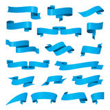 Collection of vector blue ribbons Stock Image
