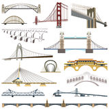Collection of vector bridges. Icons royalty free illustration