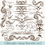 Collection of vector calligraphic decorative flourishes in vinta Stock Photos