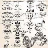 Collection of vector calligraphic elements and flourishes Stock Photo