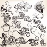 Collection of vector calligraphic elements and flourishes Stock Image