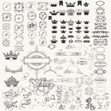 Collection of vector calligraphic flourishes, crowns, borders