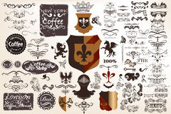 Collection of vector calligraphic and heraldic decorative elemen. Big collection of vector calligraphic and heraldic decorative elements for design Royalty Free Stock Photos
