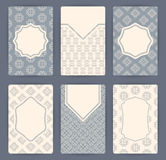 Collection of vector card templates with geometric ornament. Royalty Free Stock Photography