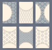 Collection of vector card templates with geometric ornament. Stock Photo