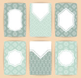 Collection of vector card templates with geometric ornament. Stock Photos