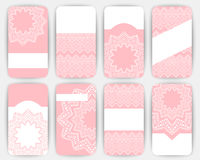Collection of vector card templates with geometric ornament. Stock Photography