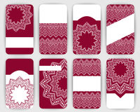 Collection of vector card templates with geometric ornament. Royalty Free Stock Photos