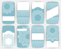 Collection of vector card templates with geometric ornament. Royalty Free Stock Images