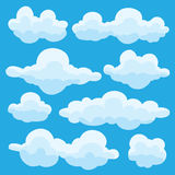 Collection of vector cartoon clouds in different shapes Royalty Free Stock Images