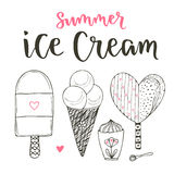 Collection of vector cartoon ice cream set. Cones and cute ice creams in doodle style. Vector set with lettering Royalty Free Stock Photos