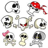 A collection of vector cartoon skulls in various styles. Skull icons. Halloween elements for party decoration Royalty Free Stock Photography