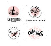 Collection of vector catering and restaurant company logo set isolated on white background. Hand drawn wine elements, dish icons. Perfect for restaurant, cafe vector illustration