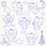 Collection of vector Christmas angels and ornaments in doodle st Stock Photography