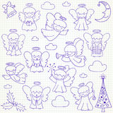 Collection of vector Christmas angels and ornaments in doodle st Royalty Free Stock Photography