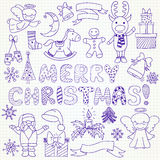 Collection of vector Christmas characters and ornaments Royalty Free Stock Photo