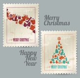 Collection of vector christmas vintage stamps Royalty Free Stock Photos