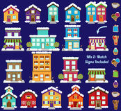 Collection of Vector Christmas or Winter City and Town Buildings. With Mix and Match Signs Stock Photography