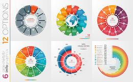 Collection of 6 vector circle chart templates 12 options. Collection of 6 vector circle chart templates for infographics with 12 options Royalty Free Stock Photography