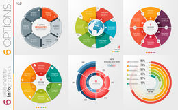 Collection of 6 vector circle chart templates 6 options. Stock Photos